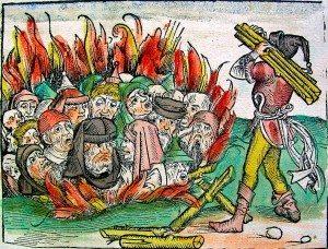 Judíos ardiendo por la acusación de ser los inductores de la peste negra