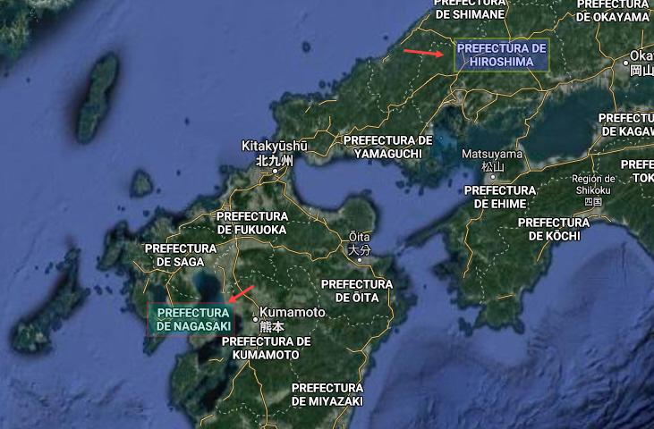 Mapa de Hiroshima y Nagasaki