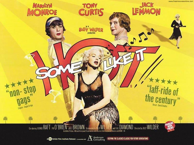 Poster promocional de la película de Marilyn Monroe Con faldas y a lo loco.