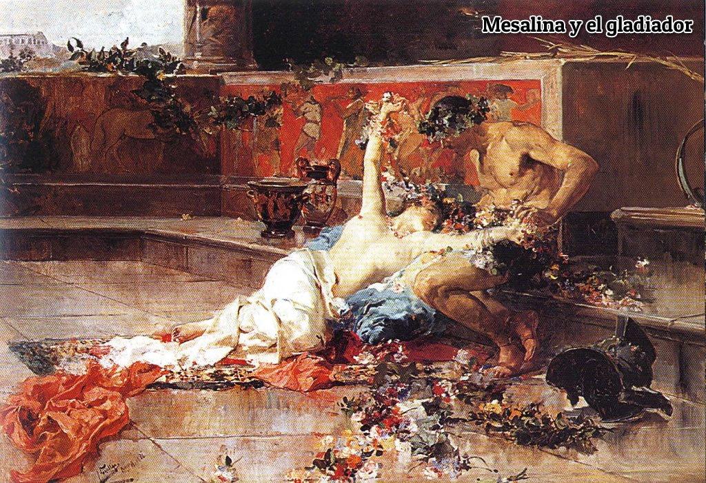 Representación de Mesalina refocilándose con un  gladiador