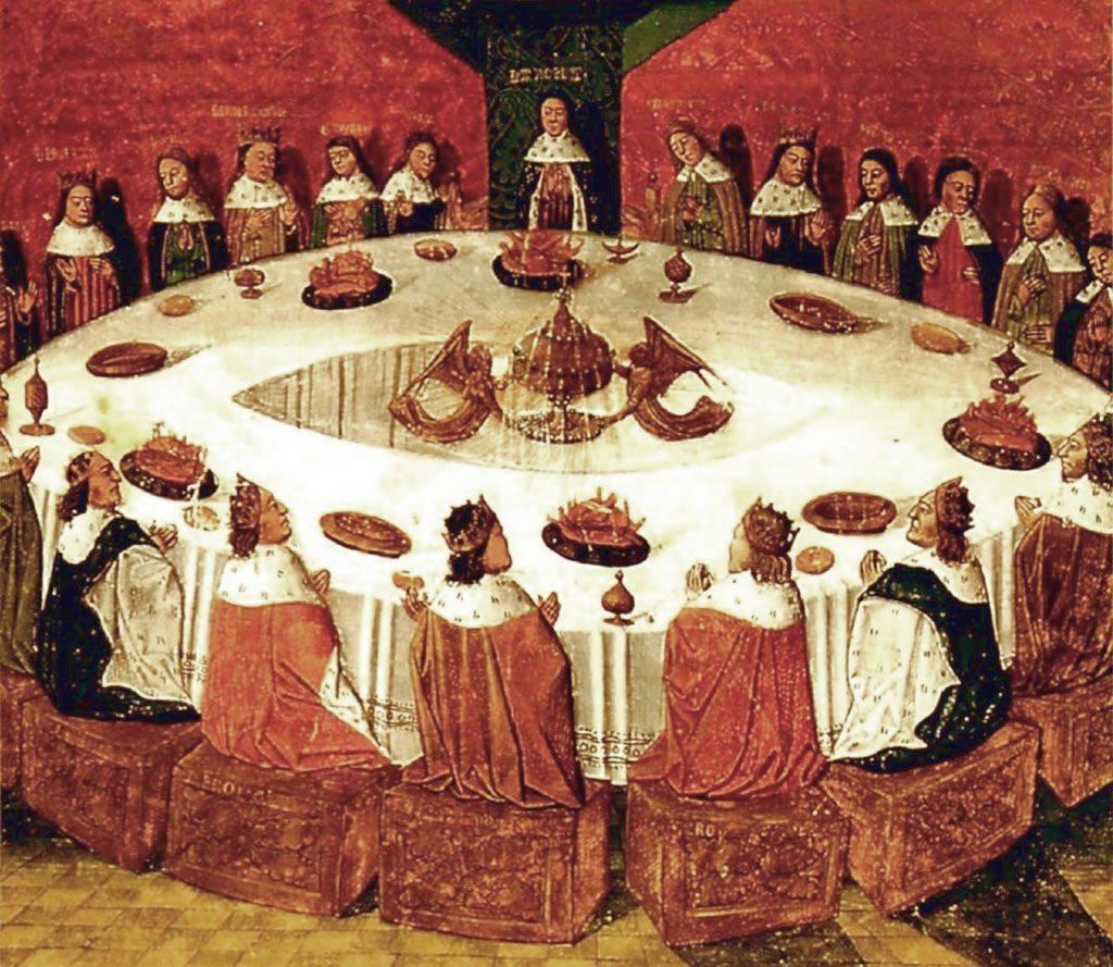 El rey Arturo sentado con los caballeros de la Orden de la Mesa Redonda