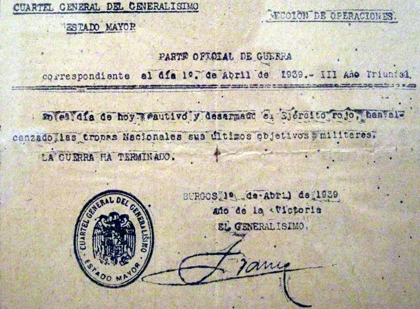 Parte Oficial de Guerra, el final de la guerra civil española