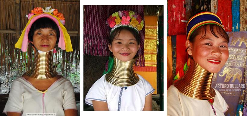 "Las mujeres tribales de Birmania, mujeres ""jirafa"""