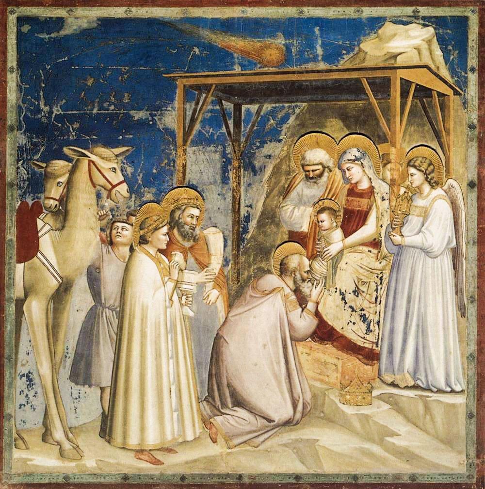Adoración de los Reyes Magos del artista, escultor y arquitecto Giotto de Bondone