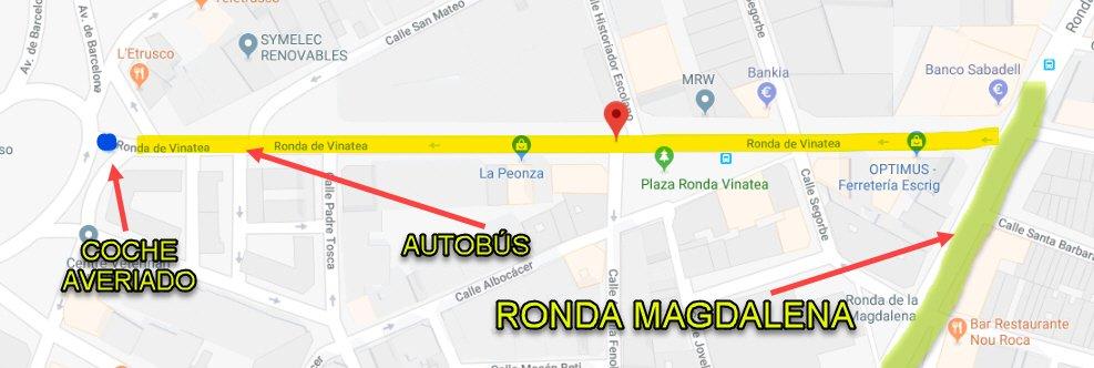 Mapa de la posición del coche que se ha averiado en la Ronda Vinatea