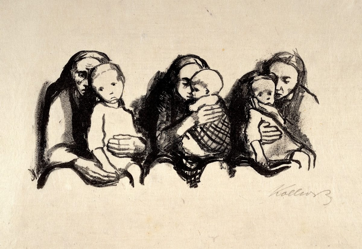 Madres con sus hijos enfermos esperando para consultar a un médico. Litografía de K. Kollwitz, 1920