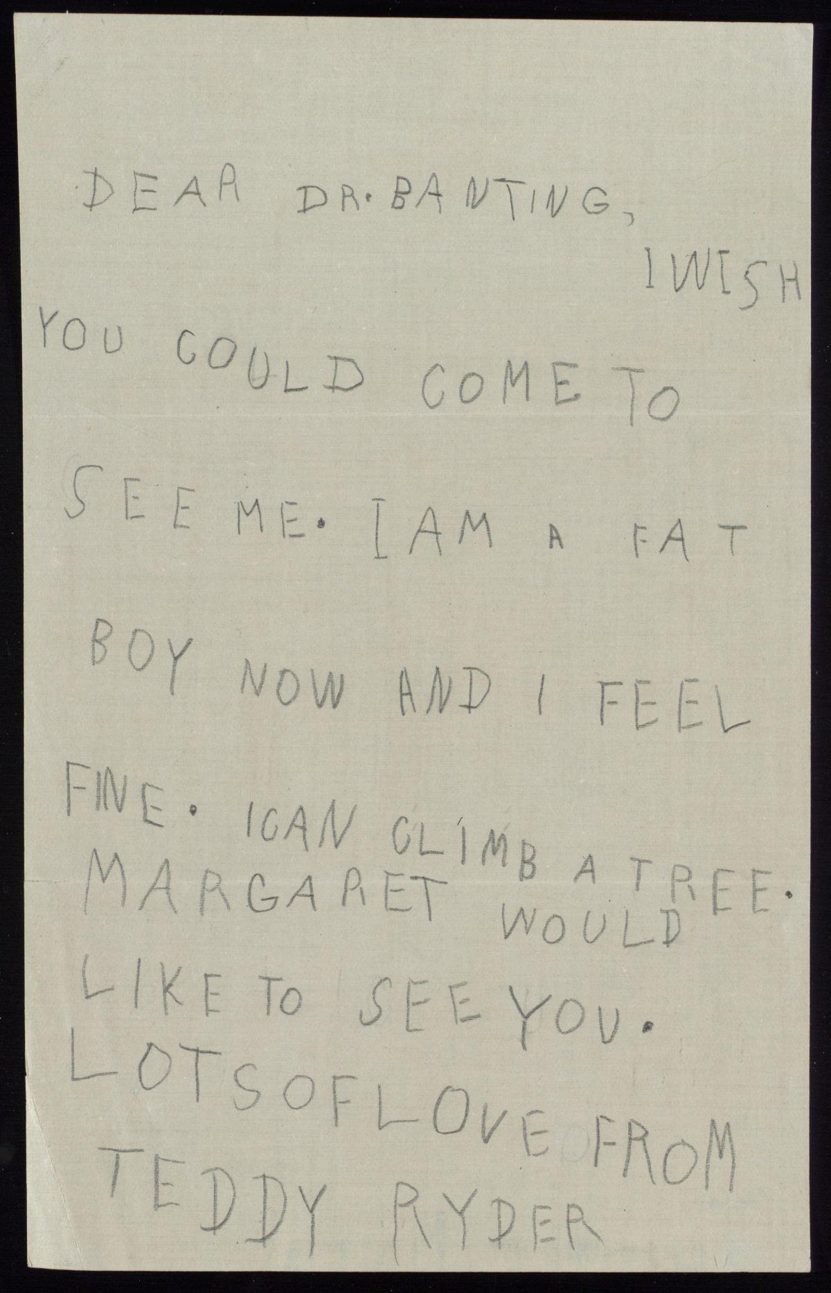 Carta al Dr. Banting, aprox 1923