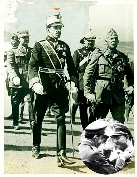 Alfonso XIII y Francisco Franco