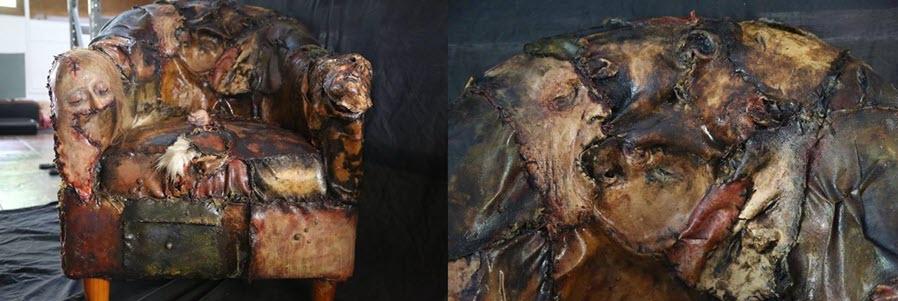 Recreación de como podía haber sido los sillones hechos pro Ed Gain con restos humanos