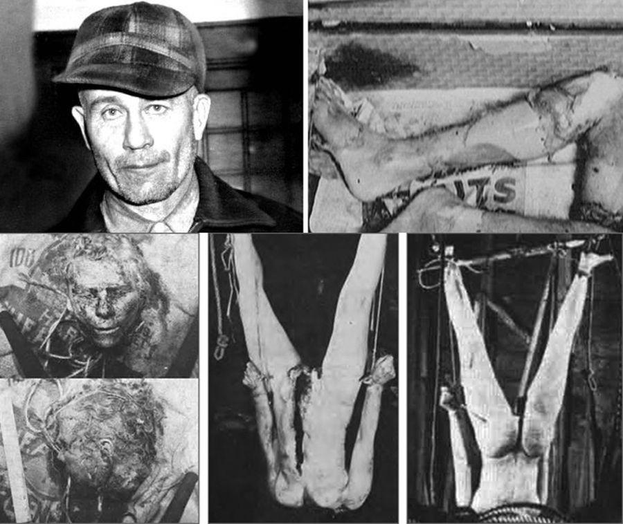Ed Gein e imágenes de los restos de las víctimas hallados en su casa