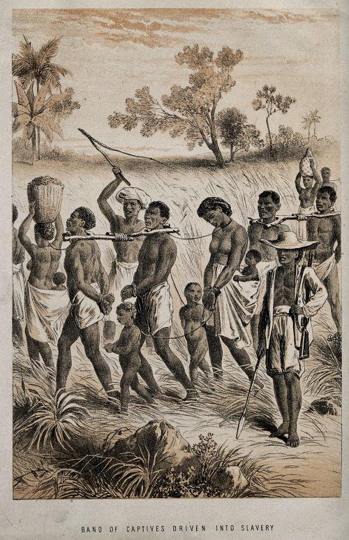Grupo de personas capturadas como esclavos