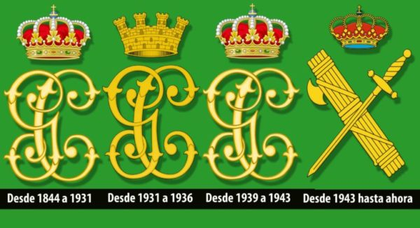 El emblema o logo de la Guardia Civil a través de los tiempos.