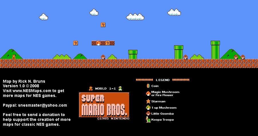 Super Mario Bros mapa mundo 1-1