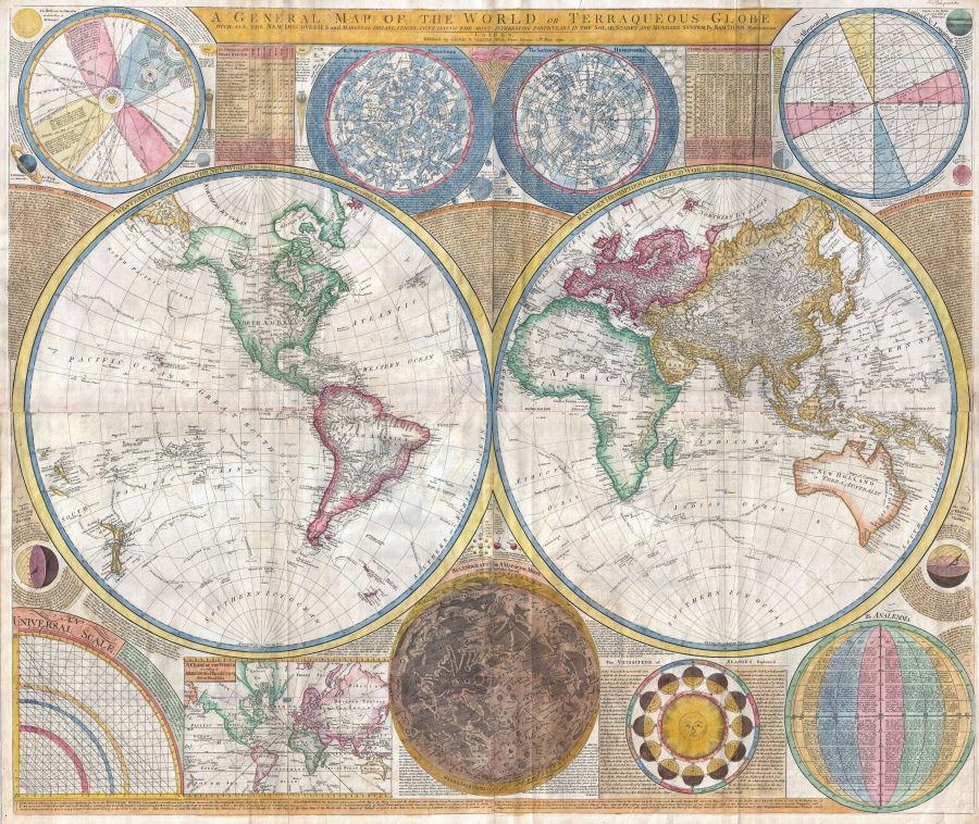 El mapa de Samuel Dunn ilustró un esquema general de América del Norte