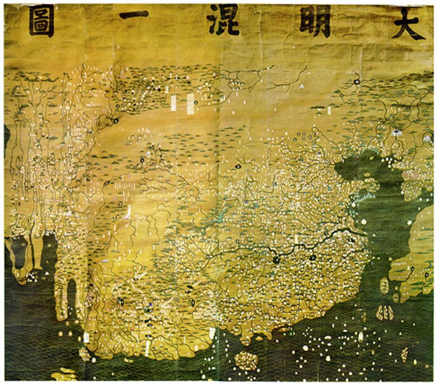 El mapa de Da Ming Hunyi Tu muestra a China como la potencia dominante