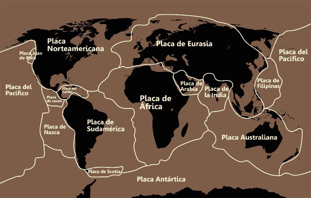 Placas tectónicas ─ Distribución planisferio